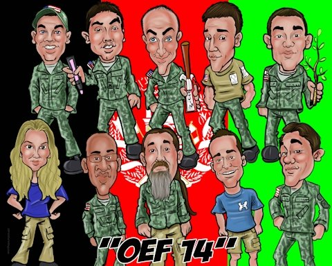 end of army deployment group caricature