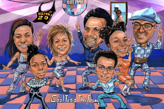 dancing group caricature