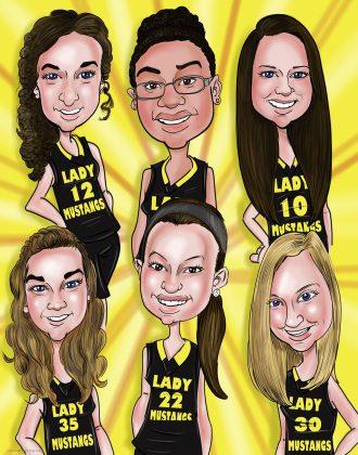 mustangs-team-caricature