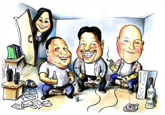 group of friends art picture caricature (34K)