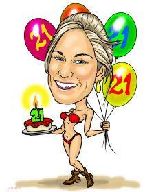 21st birthday caricature art