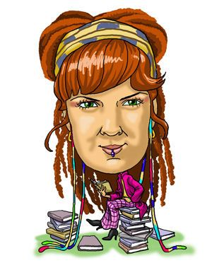 Big head little body girl caricature