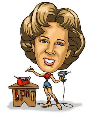 Big head little body woman with tools caricature