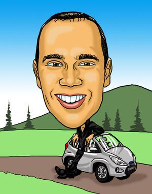 Man with car caricature gift