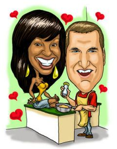 cartoon drawing of mixed race couple celebrating Valentines Day