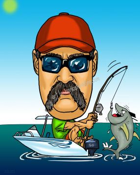 fisherman catching a tuna from a boat caricature