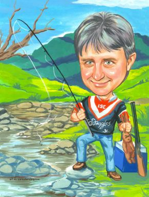 caricature picture of a fishermanby a river