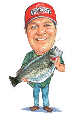 fisherman in a hat holding a big bass caricature