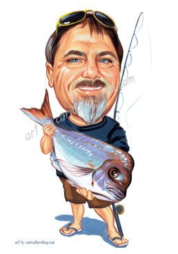 caricature of a fisherman4 holding a big snapper fish