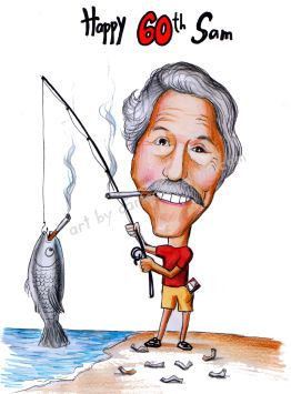 fisherman 60th birthday caricature