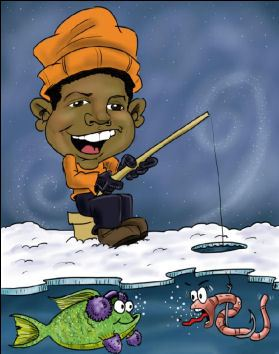 boy fishing through an ice hole caricature