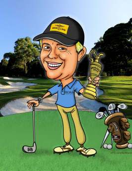 golf color with trophy caricature