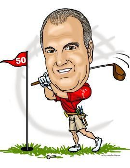 golfer big swing caricature