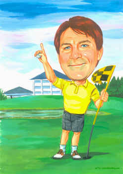 caricature of golfer enjoying a glass of beer