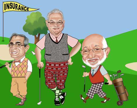 caricaturization three golfing friends