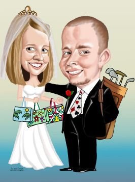 keen golfer on his wedding day caricature