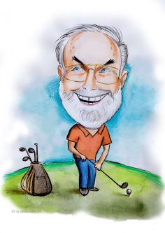 happy golfer caricature