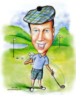martini drinking golfer caricature
