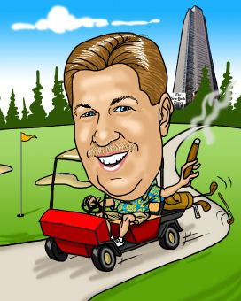 golferin golf cart driving caricature