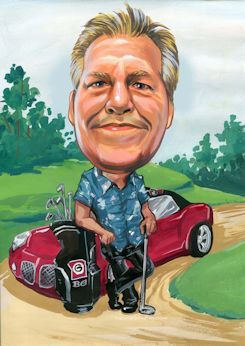caricature art of a rich golfer