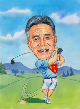 big hitting golfer art caricature
