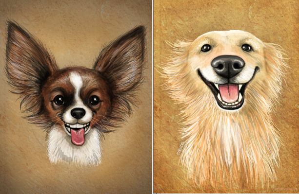 caricatures of dogs