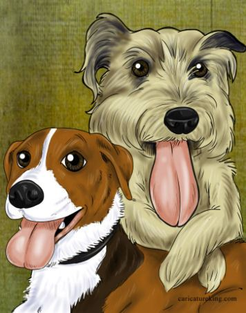 two dogs caricature
