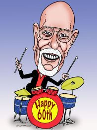 cartoon art of drummer birthday gift