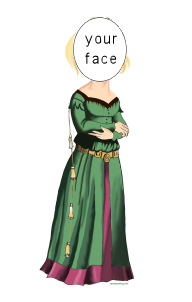 medieval lady in waiting caricature