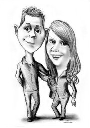 drawing of young couple standing and smiling for alentines gift