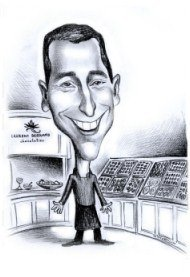 black and white chef caricature